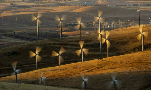 FILE - In this May 12, 2013, photo, wind turbines line the Altamont Pass near Livermore, Calif. A conservation group says it's suing the Obama administration over a new federal rule that allows wind-energy companies to seek approval to kill and injure eagles for 30 years.The lawsuit from the American Bird Conservancy was expected to be filed Thursday, June 19, 2014, in federal court in San Jose, Calif. A copy of the complaint was obtained by The Associated Press on Wednesday. (AP Photo/Noah Berger, File)