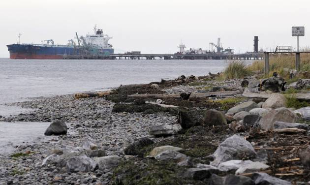 In this photo taken Oct. 23, 2012, a ship is seen in the distance moored at the BP oil refinery in the Strait of Georgia just beyond the location of a proposed coal exporting terminal in Ferndale, Wash., near Bellingham, Wash. The progressive college town of Bellingham is at the center of one of the fiercest environmental debates in the region: should the Northwest become a hub for exporting U.S. coal to Asia? A proposal to build one of as many as five coal terminals here has divided the town, pitting union and businesses that welcome jobs against environmentalists who worry about coal dust and greenhouse gas emissions. A trade group is running TV ads touting the projects, while numerous cities such as Seattle and Portland are opposing coal trains through their communities. (AP Photo/Elaine Thompson)