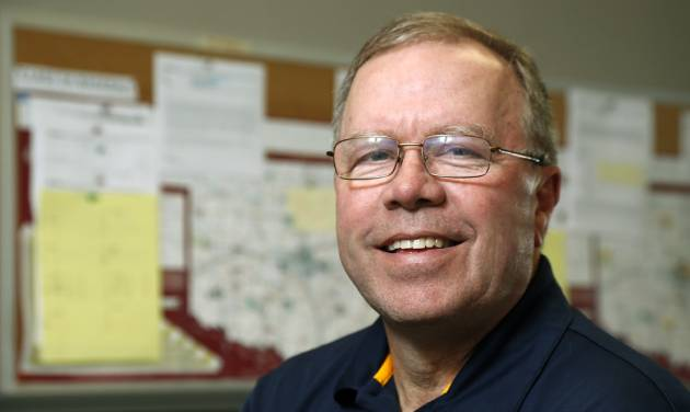 Mike Whaley, an assistant director at the Oklahoma Secondary School Activities Association, poses for a photo in his office at the OSSAA building in Oklahoma City, Friday, May 2, 2014. Photo by Nate Billings, The Oklahoman