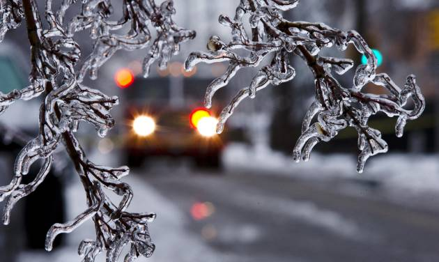 An ice covered tree limb that took out a utility line blocks the path of a firetruck after a winter storm Wednesday, Feb. 5, 2014, in Philadelphia.  Icy conditions have knocked out power to more than 200,000 electric customers in southeastern Pennsylvania and prompted school and legislative delays as well as speed reductions on major roadways.  (AP Photo/Matt Rourke)