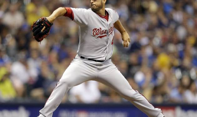 Washington Nationals starting pitcher Gio Gonzalez throws to the Milwaukee Brewers during the sixth inning of a baseball game Monday, June 23, 2014, in Milwaukee. (AP Photo/Jeffrey Phelps)