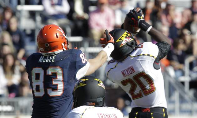 Maryland defensive back Anthony Nixon (20) intercepts a pass in front of Virginia tight end Jake McGee (83) as Maryland defensive back Eric Franklin (48) covers during an NCAA college football game at Scott Stadium in Charlottesville, Va., Saturday, Oct. 13, 2012.(AP Photo/Steve Helber)