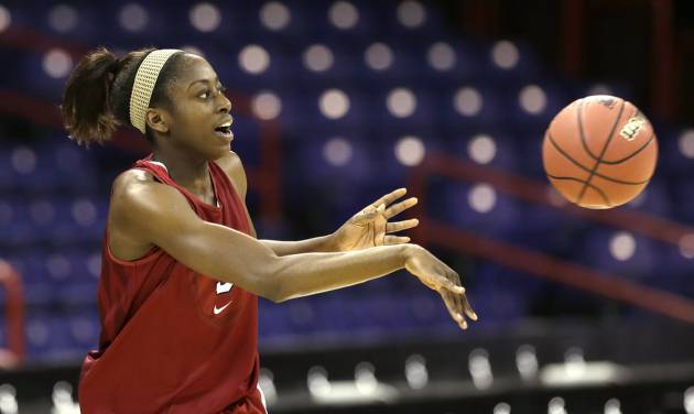 Stanford's Chiney Ogwumike passes during practice for a regional semifinal game in the women's NCAA college basketball tournament Friday, March 29, 2013, in Spokane, Wash. Stanford plays Georgia on Saturday. (AP Photo/Elaine Thompson)