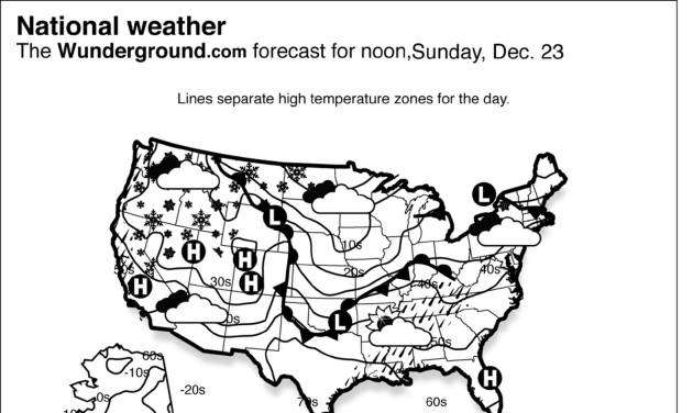 The forecast for noon, Sunday, Dec. 23, 2012 shows a low pressure system continues pushing a cold front over the Western states.  This will create more heavy rain and snow from California through the Northern and Central Rockies. (AP Photo/Weather Underground)