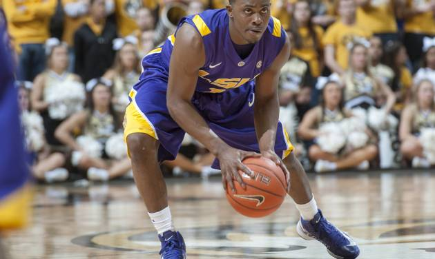 LSU's Anthony Hickey brings the ball up court during the second half of an NCAA college basketball game against Missouri Saturday, March 2, 2013, in Columbia, Mo. Missouri won the game 89-76. (AP Photo/L.G. Patterson)