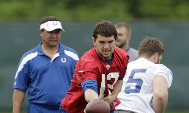 Indianapolis Colts quarterback Andrew Luck drops back after taking a snap from center Jake Kirkpatrick, right, as quarterback coach Clyde Christensen watches during the NFL team's football rookie minicamp in Indianapolis, Friday, May 4, 2012. (AP Photo/Michael Conroy)
