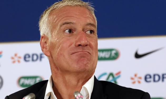 French national soccer team coach Didier Deschamps addresses reporters during a press conference in Paris, Thursday Aug. 28, 2014. France will face Spain Thursday Sept. 4,  in a friendly match in Paris. (AP Photo/Remy de la Mauviniere)