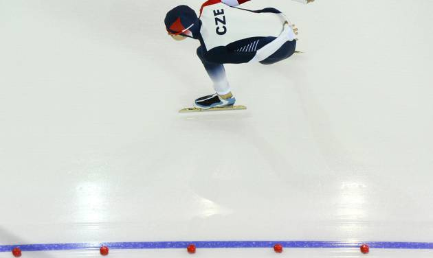 Martina Sablikova of the Czech Republic skates to win a silver medal in the women's 3,000-meter speedskating race at the Adler Arena Skating Center during the 2014 Winter Olympics, Sunday, Feb. 9, 2014, in Sochi, Russia. (AP Photo/Antonin Thuillier, Pool)