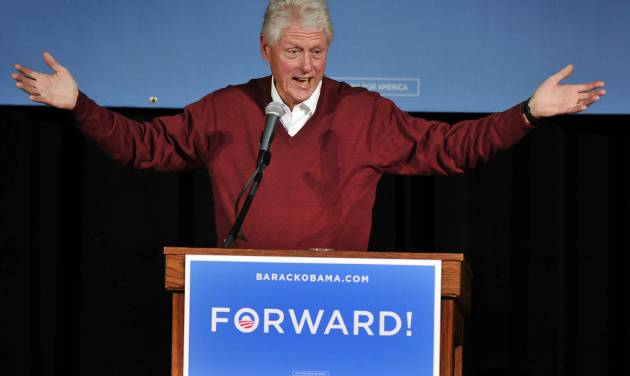 Former President Bill Clinton speaks during a campaign event for President Barack Obama on Sunday, Nov. 4, 2012, at St. Cloud State University, in St. Cloud, Minn. (AP Photo/The St. Cloud Times, Dave Schwarz) NO SALES