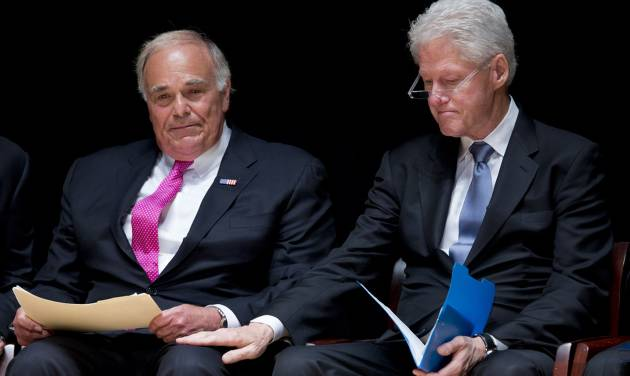 Former President Bill Clinton places a hand on former Pennsylvania Gov. Ed Rendell after Rendell spoke during a public memorial service for Philadelphia Inquirer co-owner Lewis Katz, Wednesday, June 4, 2014, at Temple University in Philadelphia. Katz and six others died when his private jet crashed during takeoff on Saturday, May 31, 2014, in Massachusetts. He was 72.  (AP Photo/Matt Rourke)