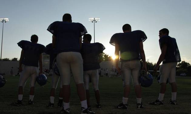 Bridge Creek sidelines during a high school football scrimmage between John Marshall and Bridge Creek at Taft Stadium in Oklahoma City Thursday, Aug. 19, 2010. Photo by Doug Hoke, The Oklahoman. ORG XMIT: KOD