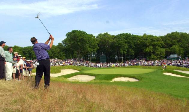 FILE - In this June 16, 2002, file photo, Phil Mickelson hits to the fifth green from the rough during the final round of the U.S. Open Golf Championship at the Black Course of Bethpage State Park in Farmingdale, N.Y. The PGA of America announced Tuesday, Sept. 17, 2013, that course will host the 2019 PGA Championship and 2024 Ryder Cup. (AP Photo/Mark Lennihan, File)
