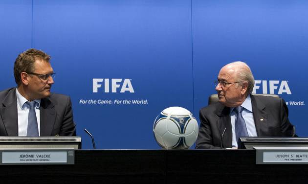 FIFA Secretary General Jerome Valcke, left, and FIFA President Joseph Sepp Blatter speak during a press conference after a meeting of the FIFA Executive Committee, at the FIFA headquarters in Zurich, Switzerland, Friday, Sept. 28, 2012. Blatter has told the governing body's anti-corruption advisers to stop publicly criticizing the ruling board members of soccer's governing body. (AP Photo/Keystone, Alessandro Della Bella)