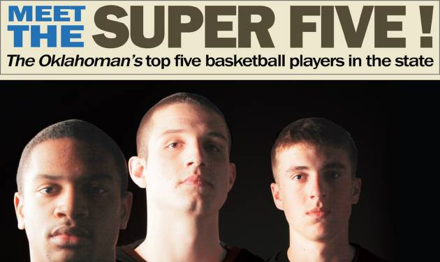 "Four of The Oklahoman's five Super Five players spoof the Beatles' ""Meet the Beatles"" album cover. From left: Guthrie's Donte' Foster, Tahlequah's Matt Qualls, Red Oak's Lane Adams and Jenks' Bryson Pope. Photo by Nate Billings, Illustration by Phillip Baeza, The Oklahoman."