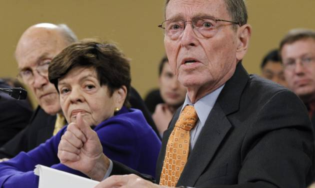 FILE - In a Tuesday, Nov. 1, 2011 file photo, former Senate Budget Committee Chairman Pete Domenici, R-N.M., right, speaks before the Joint Select Committee on Deficit Reduction during a hearing on Capitol Hill in Washington. Former U.S. Sen. Domenici is acknowledging he fathered a son outside his marriage three decades ago. Statements released by the New Mexico Republican and the son's mother, Michelle Laxalt, of Alexandria, Va., identify Domenici as the father of Las Vegas lawyer Adam Paul Laxalt, the Albuquerque Journal reported Wednesday, Feb. 20, 2013. (AP Photo/J. Scott Applewhite, File)