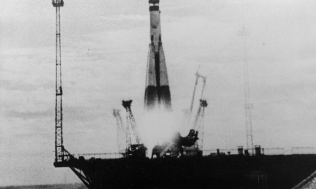 """FILE - This file image from the Russian documentary film, """"Ten Years of the Space Age,"""" and provided by the Russian news photo agency Novosti shows the launch of Sputnik 1, a Soviet man-made earth satellite. Beach ball-sized Sputnik touched off a space race and stoked big fears that American students might not be up to the challenges of the Cold War. Calls to improve science and technical education led to creation of a low-interest college loan program in the National Defense Education Act of 1958. The loan dollars came directly from the government. (AP Photo/Novosti, File)"""