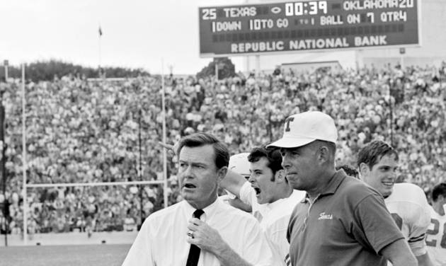 Texas coach Darrell Royal, show with assistant coach Emory Bellard in this file photo from the 1968 OU-Texas game, is one of eight former Bud Wilkinson players who became college football head coaches. Royal died Wednesday, Nov. 7, 2012, at age 88. (AP Photo, File)  SS - AP
