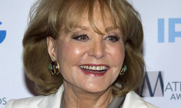 """FILE - In this April 23, 2012 file photo, veteran ABC newswoman Barbara Walters arrives to the Matrix Awards in New York. The veteran ABC News anchor is set to announce Monday morning, May 13, 2013 on """"The View"""" that she will retire from TV journalism during the summer of 2014. (AP Photo/Charles Sykes, File)"""