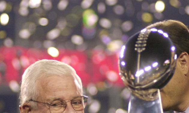 FILE - Baltimore Ravens owner Art Modell is seen with the Vince Lombardi Trophy after the Ravens beat the New York Giants 34-7 in Super Bowl XXXV in this Jan. 28, 2001 file photo taken in Tampa, Fla. Modell is hospitalized in Baltimore. The team said Wednesday Sept. 5, 2012 the 87-year-old Modell is at Johns Hopkins Hospital. Cleveland television station WKYC reported that Modell's vital organs are failing. (AP Photo/Dave Martin, File)