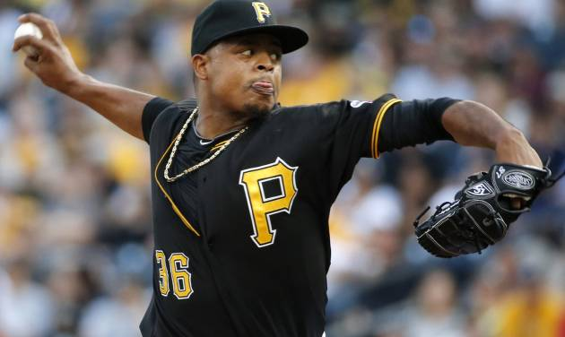 Pittsburgh Pirates starting pitcher Edinson Volquez (36) delivers during the first inning of a baseball game against the Miami Marlins in Pittsburgh Thursday, Aug. 7, 2014. (AP Photo/Gene J. Puskar)