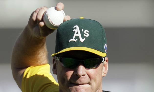 Oakland Athletics manager Bob Melvin throws batting practice before Game 3 of an American League division baseball series against the Detroit Tigers in Oakland, Calif., Tuesday, Oct. 9, 2012. (AP Photo/Eric Risberg)