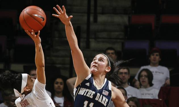 Florida State guard Cheetah Delgado (5) goes high to score over the defense of Notre forward Dame Natalie Achonwa (11) in the first half of an NCAA college basketball game, Thursday, Feb. 6, 2014, in Tallahassee, Fla. (AP Photo/Phil Sears)