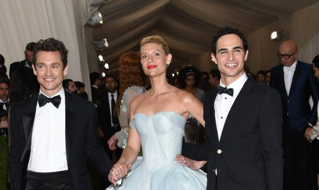 Hugh Dancy, from left, Claire Danes and Zac Posen arrive at The Metropolitan Museum of Art Costume Institute Benefit Gala, celebrating the opening of