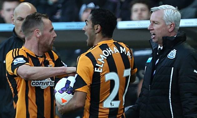 FILE - This is a March 1, 2014 file photo of  Newcastle United's manager Alan Pardew, right, as he confronts Hull City's David Meyler, left, during the English Premier League soccer match in Hull England. Newcastle manager Alan Pardew has been handed a seven-match ban on Tuesday March 11, 2014 by the English Football Association for head-butting Meyler during a Premier League match. The FA says Pardew will serve a three-match stadium ban before being suspended from standing on the touchline for the other four games.  (AP Photo/Lynne Cameron/PA, File) UNITED KINGDOM OUT