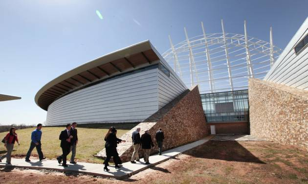 Legislators tour the site of the American Indian Cultural Center and Museum on March 18. Wednesday, the House Appropriations and Budget Committee approved a bill that would use $40 million from the state's unclaimed property fund to help pay for the completion of the project in Oklahoma City.