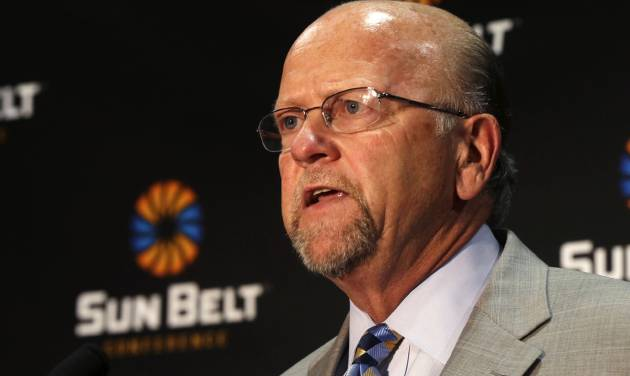 Sun Belt Commissioner Karl Benson talks during the Sun Belt media day in New Orleans, Tuesday, July 22, 2014. (AP Photo)