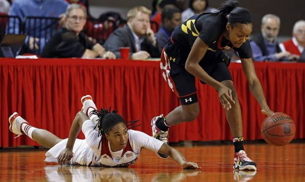 Maryland's Shatori Walker-Kimbrough, right, takes the ball away from North Carolina State's Krystal Barrett during the first half of an NCAA college basketball game in Raleigh, N.C., Thursday, Jan. 30, 2014. (AP Photo/Karl B DeBlaker)