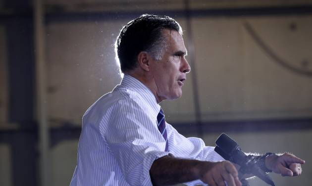 Republican presidential candidate, former Massachusetts Gov. Mitt Romney speaks at a Florida campaign rally at Orlando Sanford International Airport, in Sanford, Fla., Monday, Nov. 5, 2012. (AP Photo/Charles Dharapak)