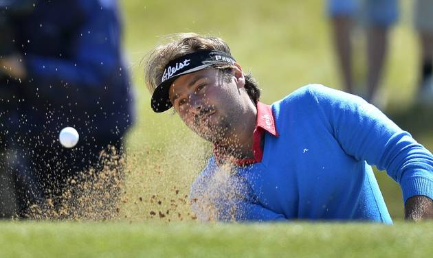 Victor Dubuisson of France in the bunker during the second day of the Nordea Masters at the PGA of Sweden National golf club outside Malmo, Sweden, Friday May 30, 2014. (AP Photo/Anders Wiklund, TT News Agency)       SWEDEN OUT