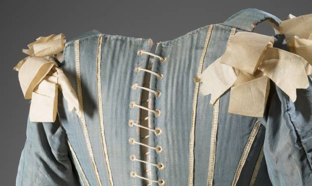 "This image released by The Museum at FIT shows a 1770s European corset in silk.  From a 1770 corset to a 2014 bra-and-panty set in lacy stretch silk, the Museum at the Fashion Institute of Technology has taken on lingerie and ladies foundation garments as the focus of a new exhibition. In about 70 pieces, ""Exposed: A History of Lingerie"" touches on the mechanics, marketing and cultural touchstones that not only shape and adorn but helped define culture around the globe. The exhibition runs through Nov. 15. (AP Photo/The Museum at FIT, Eileen Costa)"
