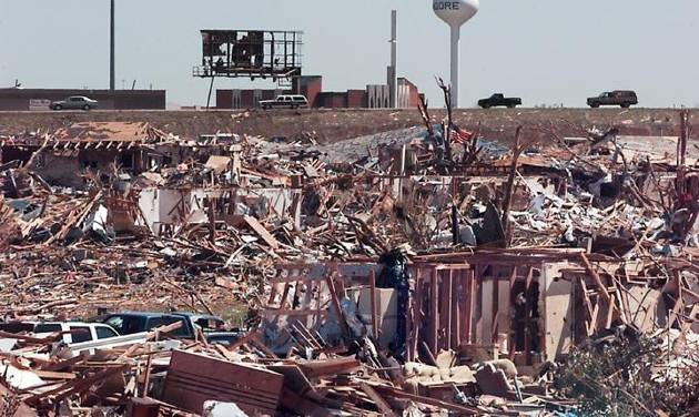 Tornado damage: Regency Park housing Addition looking east from Sunset   towards Moore's First Baptist Church, and the traffic on I-35.