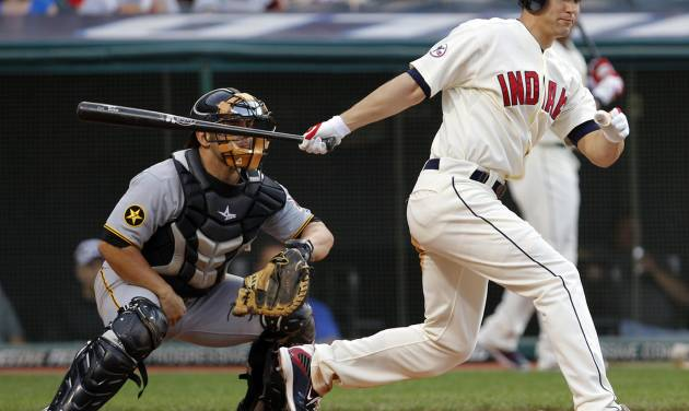 FILE - In this June 18, 2011, file photo, Cleveland Indians' Grady Sizemore watches his RBI-double in the second inning against the Pittsburgh Pirates in an interleague baseball game in Cleveland. Pirates catcher Michael McKenry is at left. Sizemore has agreed to a $750,000, one-year contract with the Boston Red Sox. A three-time All-Star, the 31-year-old has played eight major league seasons, all with Cleveland. He hit .269 with 139 homers and 458 RBIs. (AP Photo/Amy Sancetta, File)