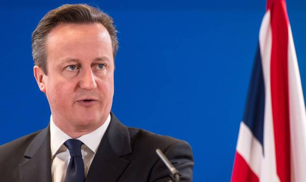 FILE - In this March 21, 2014, file photo, British Prime Minister David Cameron addresses members of the media at the end of an EU summit in Brussels. Cameron pledged Thursday, July 10, 2014, to rush through fresh measures to give police and spy agencies the power to scoop up mobile phone and Internet data. (AP Photo/Geert Vanden Wijngaert, File)