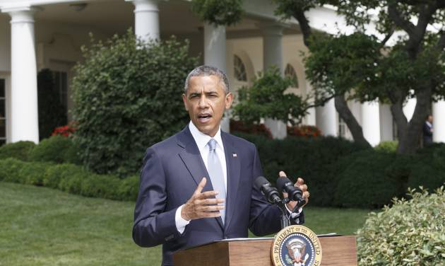 President Barack Obama makes a statement on the situation in Ukraine and Gaza, at the White House in Washington, Monday, July 21, 2014.  (AP Photo/J. Scott Applewhite)