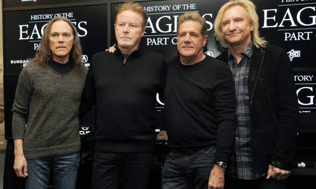 "FILE - This Jan. 19, 2013 file photo shows members of The Eagles, from left, Timothy B. Schmit, Don Henley, Glenn Frey and Joe Walsh after a news conference for their documentary film ""The History of The Eagles""  at the 2013 Sundance Film Festival in Park City, Utah. The documentary film will air in two parts on Showtime on Friday and Saturday, Feb. 15 - 16.  (Photo by Chris Pizzello/Invision/AP, file)"