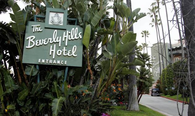 In this April 25, 2012 photo, the entrance to the Beverly Hills Hotel is seen in Beverly Hills, Calif. The Beverly Hills Hotel is celebrating its 100th anniversary this year. (AP Photo/Matt Sayles)