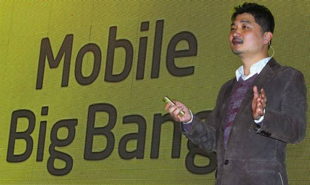 Kakao Talk founder and Chairman Brian Kim speaks during a press conference in Seoul, South Korea, Tuesday, Nov. 20, 2012. Kakao Talk, a popular mobile messenger in South Korea, will launch an online music and electronic book shop next year as it continues to grow beyond its original mission to provide a simple online messaging service. (AP Photo/Ahn Young-joon)