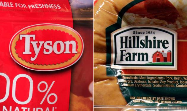 This combo made with file photos shows a package of frozen Tyson Chicken Nuggets, left, and a package of Hillshire Farm sausage, in Palo Alto, Calif. Two days after poultry producer Pilgrim's Pride made a $5.58 billion dollar bid for the maker of Ball Park hot dogs and Jimmy Dean sausages, Tyson Foods Co. on Thursday, May 29, 2014 sweetened the pot with a $6.2 billion offer. The deal sent Hillshire shares up 14 percent in premarket trading. (AP Photo/Paul Sakuma, File)