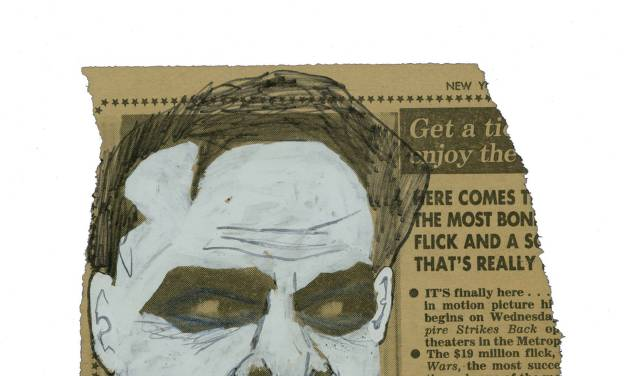 "This image released by Metropolis Collectibles, Inc. shows a drawing of actor Jack Nicholson as The Joker in Tim Burton's 1989 ""Batman,"" drawn by film producer Michael Uslan over a photo of the actor as Jack Torrance from the film ""The Shining,"" that was printed in The New York Post in 1980. The sketch went up for auction on Monday, Nov. 12, 2012 through ComicConnect.com, along with several other pieces of art and comics that Uslan has collected. The auction will continue until Dec. 3. (AP Photo/Metropolis Collectibles, Inc.)"