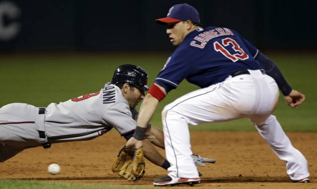 Minnesota Twins' Darin Mastroianni dives back toward second base as Cleveland Indians shortstop Asdrubal Cabrera takes the throw in the eighth inning of a baseball game, Tuesday, Sept. 18, 2012, in Cleveland. Mastroianni was caught between second and third on a ground ball by Trevor Plouffe back to the pitcher and was tagged out by Cabrera. (AP Photo/Mark Duncan)