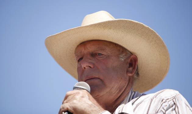 Rancher Cliven Bundy speaks at a news conference near Bunkerville, Nev., Thursday, April 24, 2014. Bundy, a Nevada rancher who became a conservative folk hero for standing up to the government in a fight over grazing rights, lost some of his staunch defenders Thursday after wondering aloud whether blacks might have had it better under slavery. (AP Photo/Las Vegas Review-Journal, John Locher)