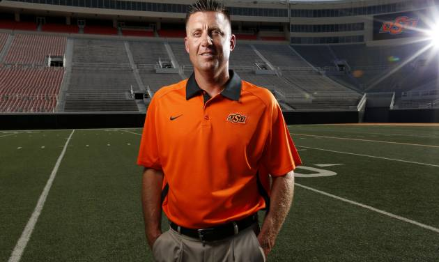 OKLAHOMA STATE UNIVERSITY / COLLEGE FOOTBALL: OSU head football coach Mike Gundy during media day for the OSU football team at Gallagher-Iba Arena in Stillwater, Okla., Saturday, Aug. 4, 2012. Photo by Sarah Phipps, The Oklahoman