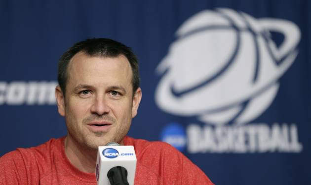 Louisville head coach Jeff Walz speaks during a news conference before practice for the NCAA women's college basketball tournament, Saturday, March 22, 2014, in Iowa City, Iowa. Louisville plays Idaho in a first-round game on Sunday. (AP Photo/Charlie Neibergall)