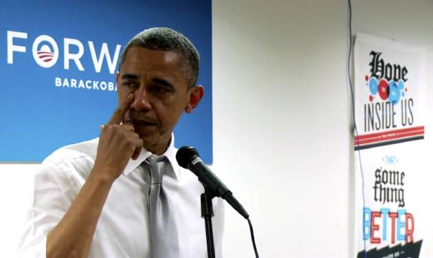 "In this still image from a BarackObama.com campaign video, President Barack Obama wipes away tears as he thanks members of his campaign staff and volunteers in Chicago, Wednesday, Nov. 7, 2012. The short speech came a day after he won re-election. The president talks about his work as a community organizer in Chicago and tells staffers and volunteers that they will do ""amazing things"" in their lives. Obama becomes emotional when he says that even before the election results, he felt the work he had done ""had come full circle."" He tells staff members that he is proud of the work they did, then pauses to wipe away tears. (AP PhotoBarackObama.com)"