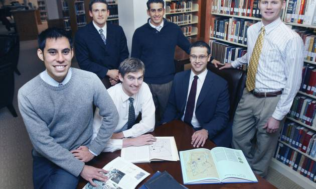 Six Herbert W. Armstrong College students have returned to Edmond after spending months on an archaeological dig in Israel. Seated in center are from left, Brandon Nice and Edwin Trebels. Standing from left are Victor Vejil, John Rambo, Jeremy Cocomise and Brent Nagtegaal. PHOTO BY PAUL HELLSTERN, THE OKLAHOMAN