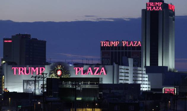 FILE - This Feb. 29, 2012 file photo shows the Trump Plaza Hotel and Casino and Caesars Atlantic City Hotel and Casino, left back, in Atlantic City, N.J. The rapid disintegration of Atlantic City's casino market might be an early indicator of what could happen in other parts of the country that have too many casinos and not enough gamblers. (AP Photo/Mel Evans, File)